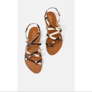 NWT! Zara Natural Leather Flat Sandals - Size 7.5